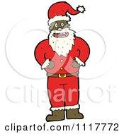 Cartoon Happy Black Xmas Santa Claus Royalty Free Vector Clipart