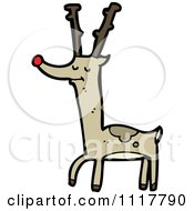Cartoon Red Nosed Christmas Reindeer 3 Royalty Free Vector Clipart by lineartestpilot