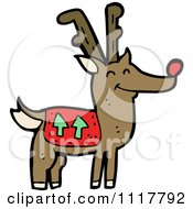 Cartoon Red Nosed Christmas Reindeer 5 Royalty Free Vector Clipart by lineartestpilot