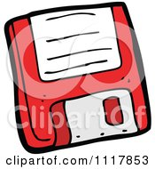 Cartoon Retro Red Computer Floppy Disk 1 Royalty Free Vector Clipart