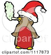 Cartoon Bad Xmas Penguin Smoking A Cigarette 2 Royalty Free Vector Clipart by lineartestpilot