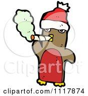 Cartoon Bad Xmas Penguin Smoking A Cigarette 3 Royalty Free Vector Clipart by lineartestpilot