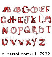 Clipart Red Devilish Capital Letters Royalty Free Vector Illustration