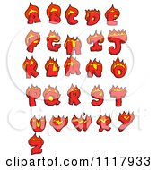 Clipart Red Flaming Capital Letters Royalty Free Vector Illustration