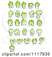 Clipart Green Flaming Capital Letters Royalty Free Vector Illustration