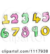 Clipart Of Colorful Numbers With Eyes Royalty Free Vector Illustration