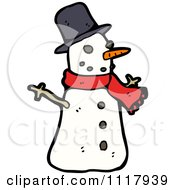 Cartoon Of A Xmas Winter Snowman With A Red Scarf Royalty Free Vector Clipart