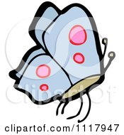 Cartoon Of A Blue Butterfly 1 Royalty Free Vector Clipart