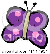 Cartoon Of A Purple Butterfly 4 Royalty Free Vector Clipart
