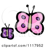 Cartoon Of Purple Butterflies Royalty Free Vector Clipart