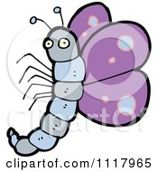 Cartoon Of A Purple Butterfly 6 Royalty Free Vector Clipart by lineartestpilot