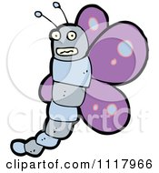 Cartoon Of A Purple Butterfly 7 Royalty Free Vector Clipart by lineartestpilot