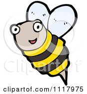Cartoon Of A Flying Bee 8 Royalty Free Vector Clipart by lineartestpilot