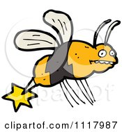 Cartoon Of A Stinging Bee 1 Royalty Free Vector Clipart by lineartestpilot