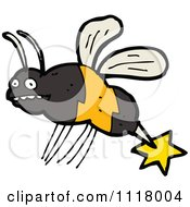 Cartoon Of A Stinging Bee 2 Royalty Free Vector Clipart