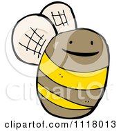 Cartoon Of A Flying Bee 34 Royalty Free Vector Clipart by lineartestpilot
