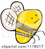Cartoon Of A Flying Bee 37 Royalty Free Vector Clipart by lineartestpilot