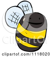 Cartoon Of A Flying Bee 40 Royalty Free Vector Clipart by lineartestpilot