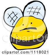 Cartoon Of A Flying Bee 41 Royalty Free Vector Clipart by lineartestpilot