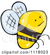 Cartoon Of A Flying Bee 43 Royalty Free Vector Clipart by lineartestpilot