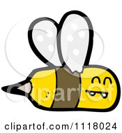 Cartoon Of A Flying Bee 2 Royalty Free Vector Clipart by lineartestpilot