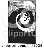 Woodcut Clipart Of A Black And White Girl With Vertigo Falling Down A Spiral Tunnel Royalty Free Vector Illustration