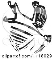 Woodcut Clipart Of A Black And White Woman Falling Royalty Free Vector Illustration by xunantunich