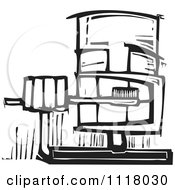 Woodcut Clipart Of A Black And White Man Brushing His Teeth Royalty Free Vector Illustration by xunantunich