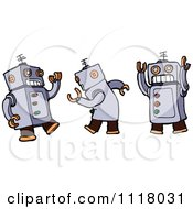 Vector Cartoon Of A Dancing Robot Shown In Three Poses Royalty Free Clipart Graphic