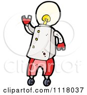 Vector Cartoon Of A Light Bulb Head Robot 2 Royalty Free Clipart Graphic by lineartestpilot