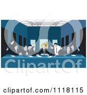 Clipart Of A Art Parody Of The Last Supper Showing A Business Team At Work Royalty Free Vector Illustration