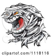 Cartoon Of A Screaming Mummy Face Royalty Free Vector Clipart