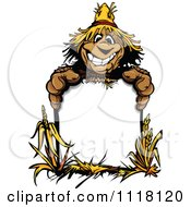 Happy Scarecrow Mascot With An Autumn Sign