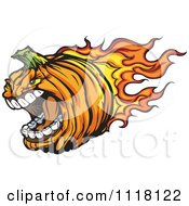 Cartoon Of An Aggressive Flaming Halloween Pumpkin Mascot Royalty Free Vector Clipart by Chromaco