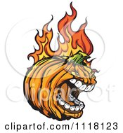 Cartoon Of A Screaming Flaming Halloween Pumpkin Mascot Royalty Free Vector Clipart by Chromaco