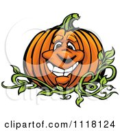 Cartoon Of A Happy Pumpkin Mascot On The Vine Royalty Free Vector Clipart