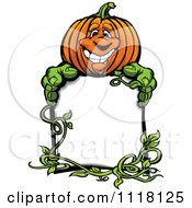 Cartoon Of A Happy Halloween Pumkin And Vine With A Sign Royalty Free Vector Clipart by Chromaco