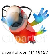 Clipart Of A 3d Bespectacled Macaw Parrot Flying 2 Royalty Free CGI Illustration