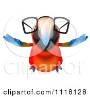 Clipart Of A 3d Bespectacled Macaw Parrot Flying 1 Royalty Free CGI Illustration