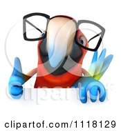 Clipart Of A 3d Bespectacled Macaw Parrot Holding A Sign 1 Royalty Free CGI Illustration