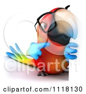 Clipart Of A 3d Bespectacled Macaw Parrot Holding A Sign 2 Royalty Free CGI Illustration