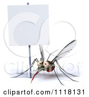 Clipart Of A 3d Mosquito With A Sign 1 Royalty Free CGI Illustration