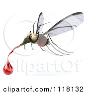 Clipart Of A 3d West Nile Virus Mosquito With A Blood Droplet Royalty Free CGI Illustration