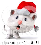 Clipart Of A 3d Christmas Kitten Walking In A Santa Hat Royalty Free CGI Illustration