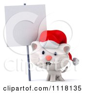 Clipart Of A 3d Christmas Kitten Wearing A Santa Hat By A Sign Royalty Free CGI Illustration