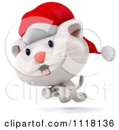 Clipart Of A 3d Christmas Kitten Running In A Santa Hat Royalty Free CGI Illustration
