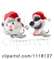 Clipart Of A 3d Christmas Jack Russell Terrier Dog Chasing A Cat Royalty Free CGI Illustration by Julos
