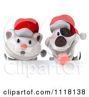 Clipart Of A 3d Christmas Kitten And Jack Russell Terrier Dog Over A Sign Board Royalty Free CGI Illustration