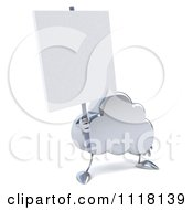 Clipart Of A 3d Silver Cloud Holding A Sign Royalty Free CGI Illustration