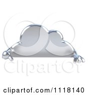 Clipart Of A 3d Silver Cloud Pointing Down At A Sign Royalty Free CGI Illustration